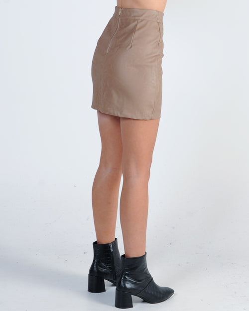 Two Timer Leather Skirt - Mocha