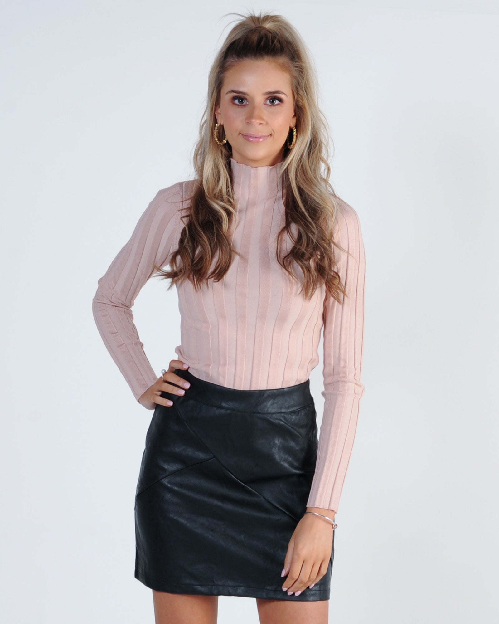 Two Timer Leather Skirt - Black