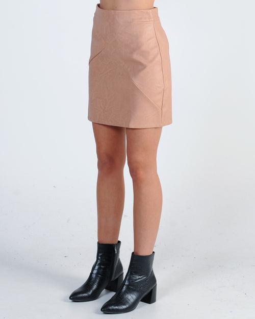 Two Timer Leather Skirt - Pink
