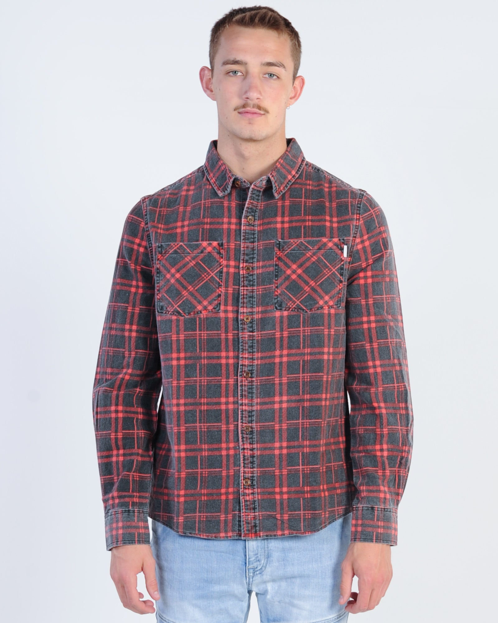 Nena & Pasadena Charge L/S Check Shirt - Red/Black Check