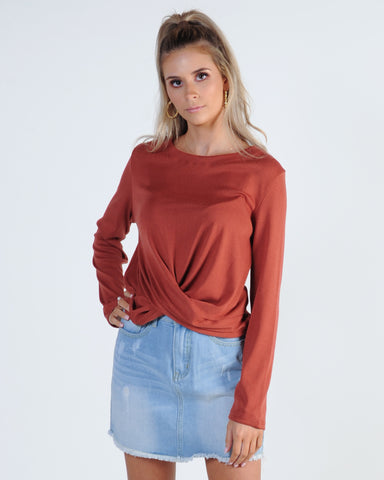 Next In Line Skivvy Top - Tan