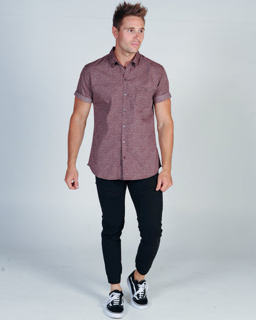 DEACON WINDSOR S/S SHIRT - BURGUNDY