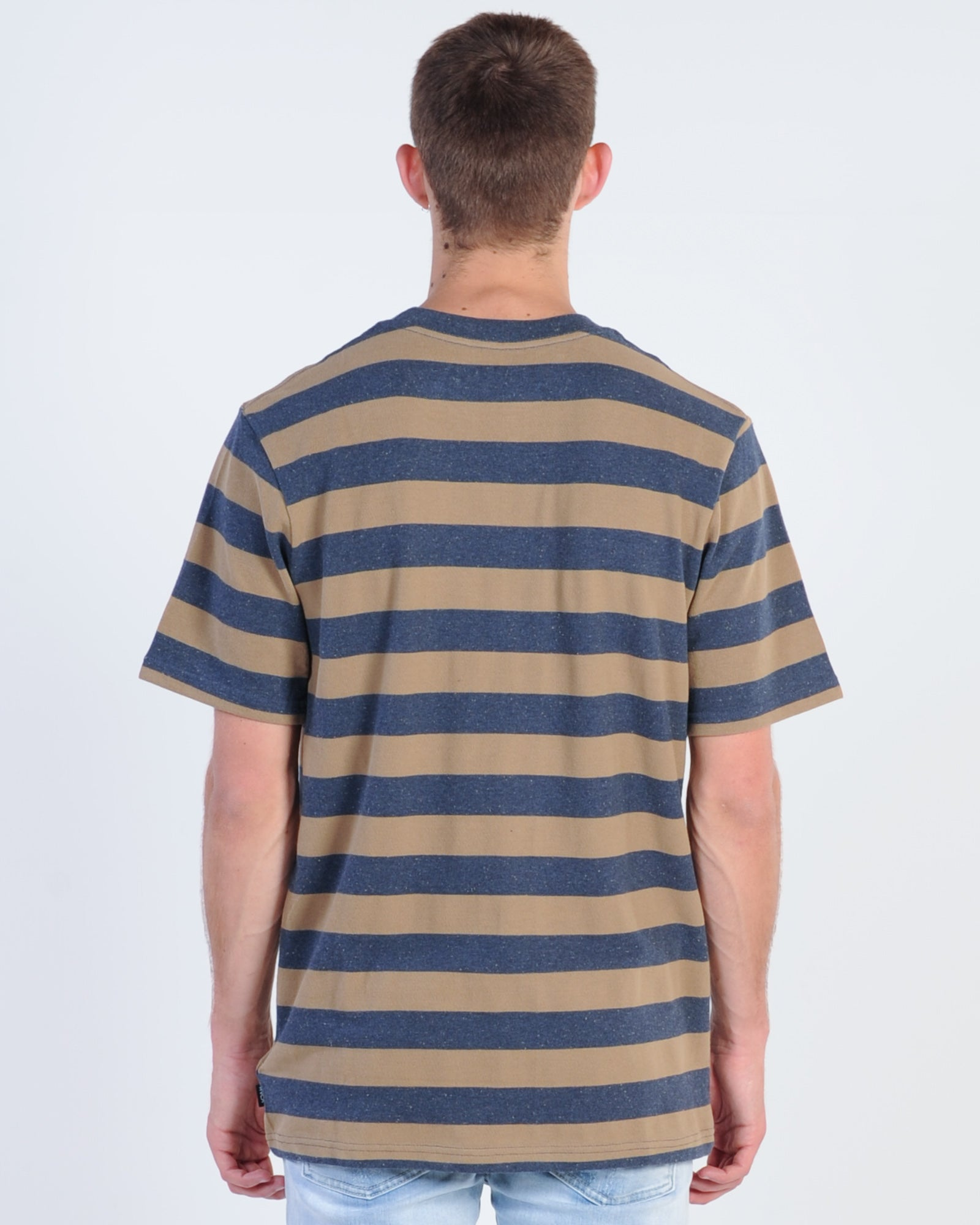 Rvca Shallow End Stripe Tee - Navy Marle