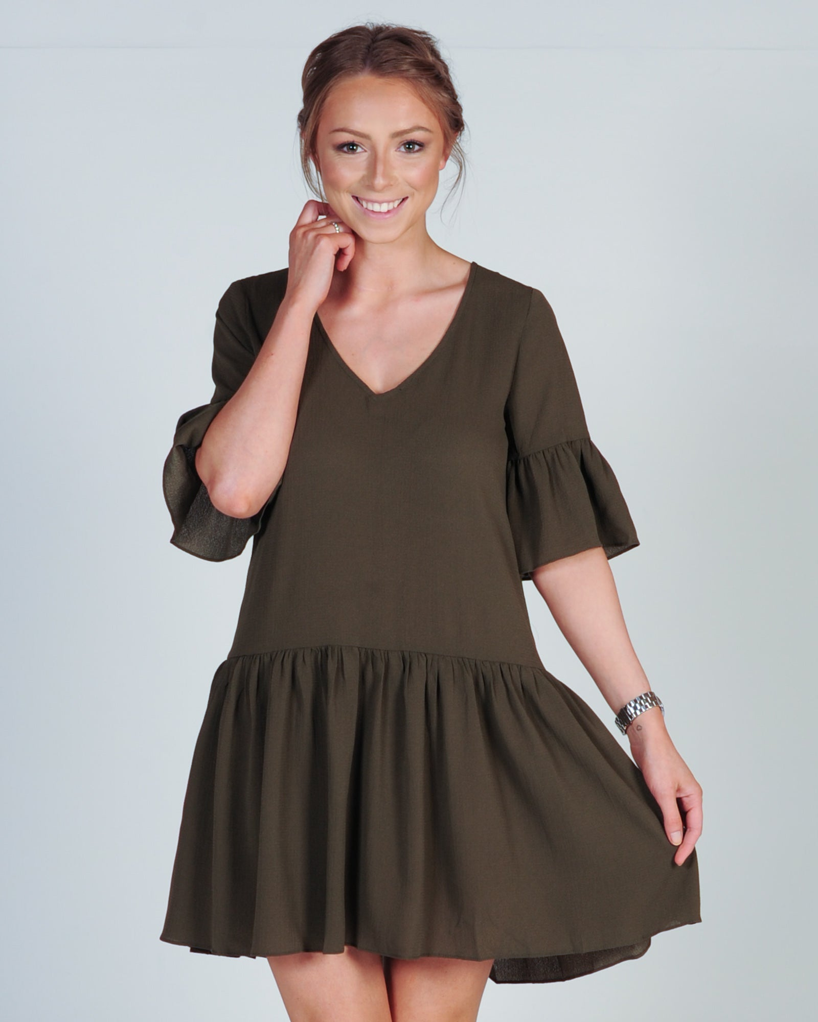 ON MY WAY SHIFT DRESS - KHAKI