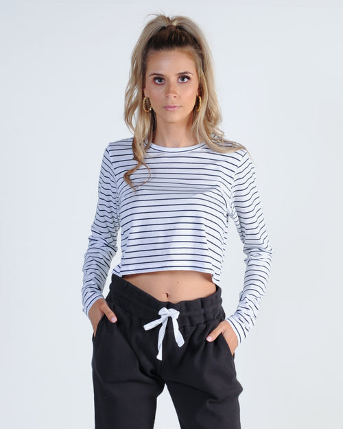 Nude Lucy Ava L/S Tee - Navy Stripe