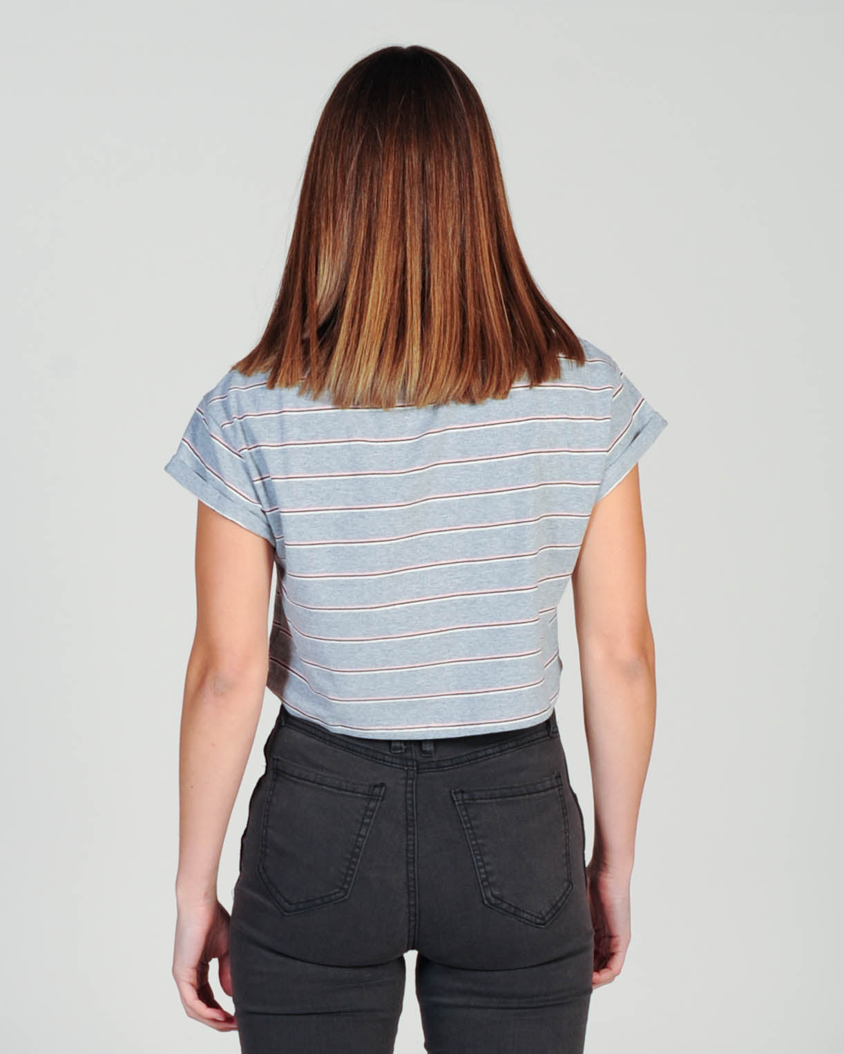 Silent Theory Bite The Bullet Crop Stripe Top - Gry/Pin/Whi/Blk