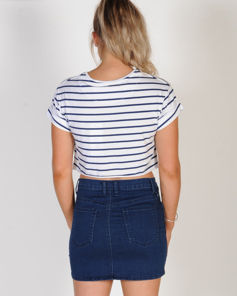 SILENT THEORY BITE THE BULLET CROP - NAVY STRIPE