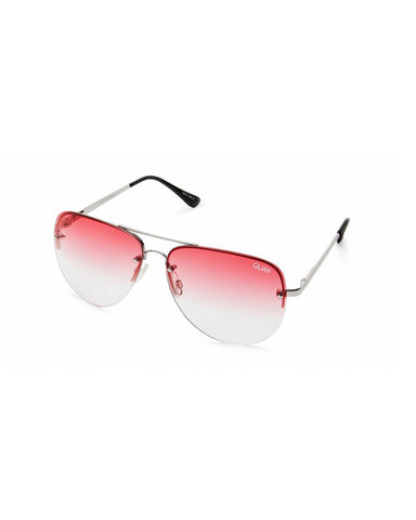 QUAY MUSE FADE SUNNIES - SILVER/RED FADE