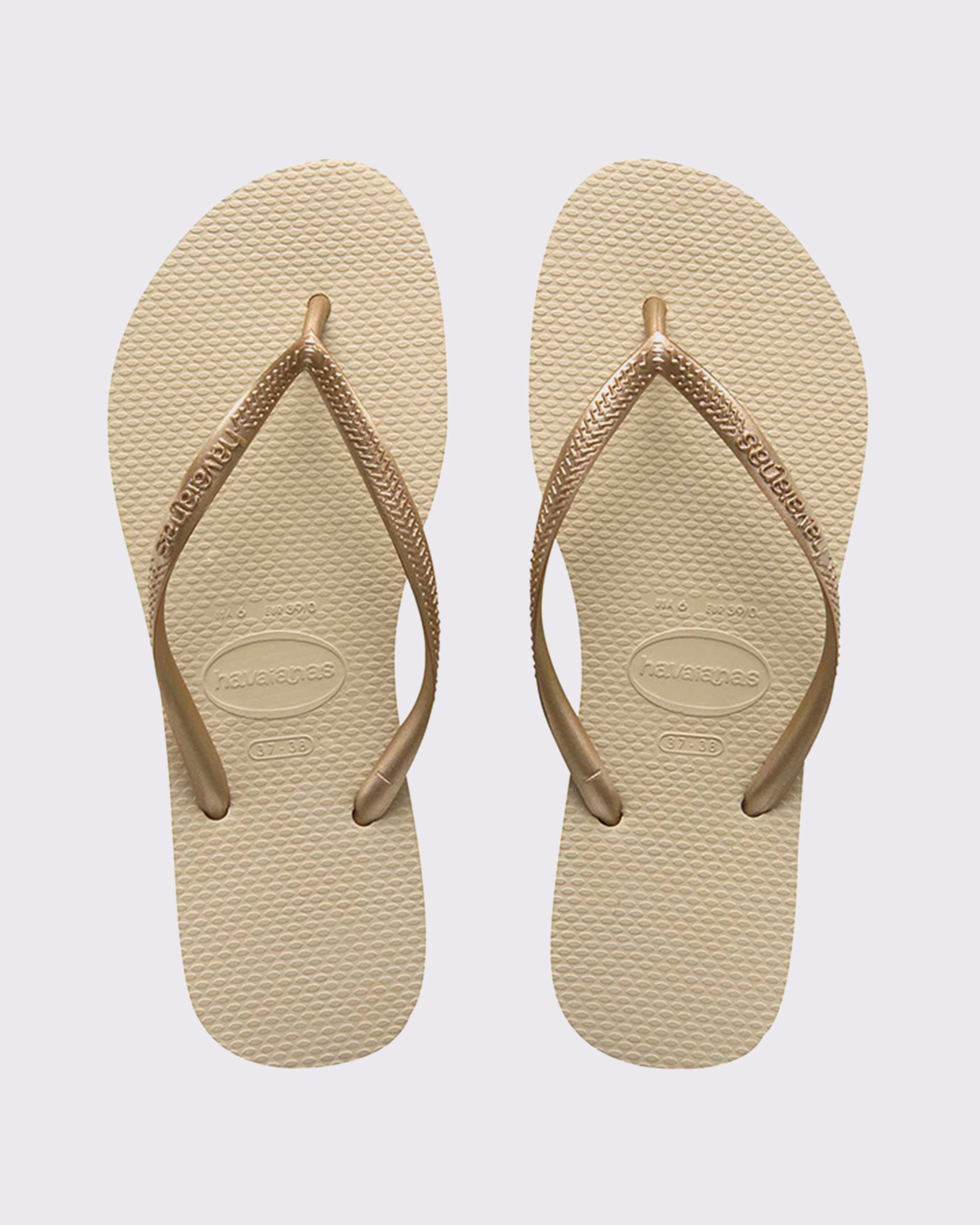 Havaianas Slim Metallic Thong - Sand Grey/Lt Golden