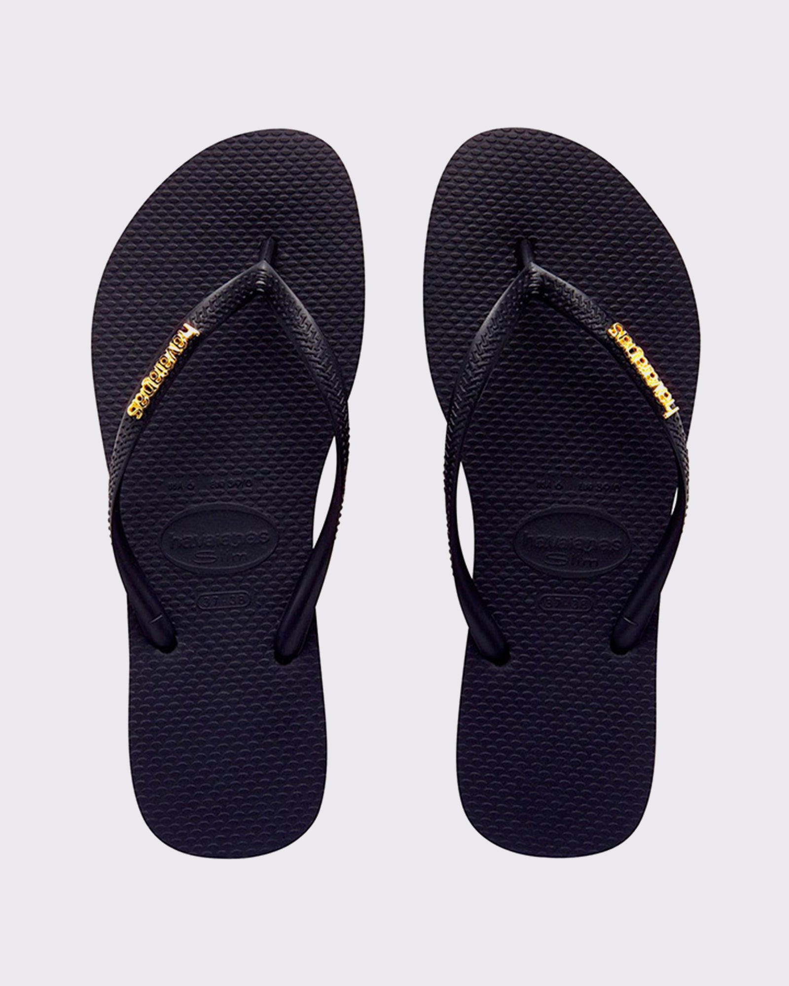 Havaianas Slim Metal Logo Thong - Black/Gold