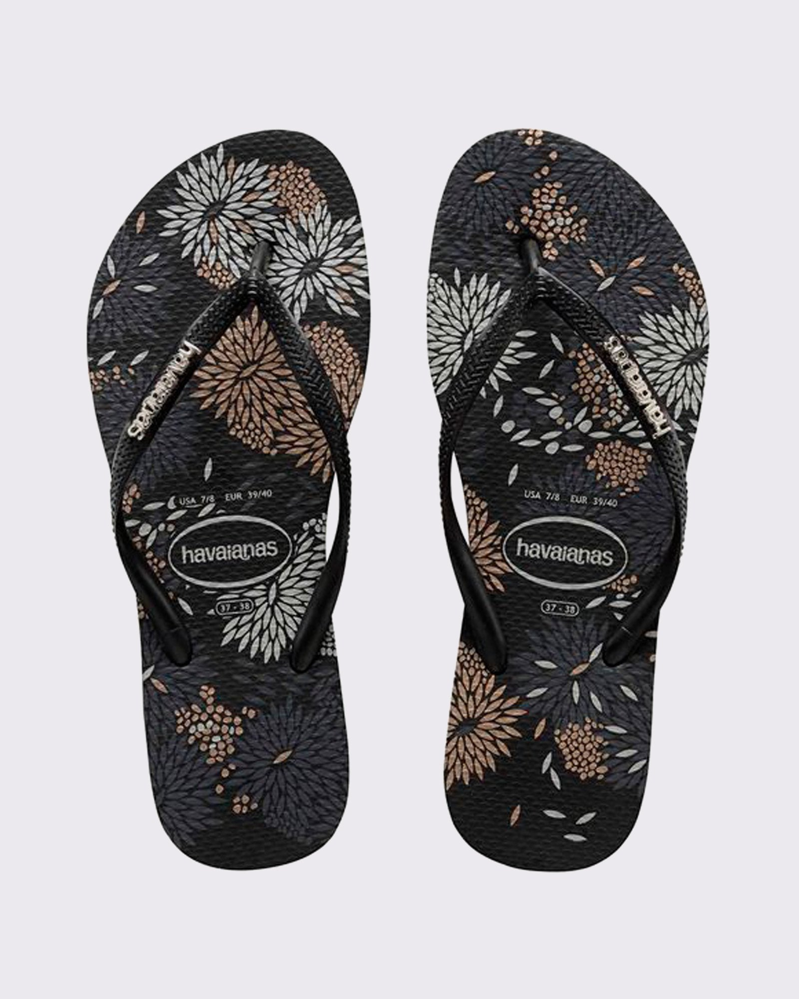 Havaianas Slim Metal Logo Bloom Blossom Thong - Black/Black