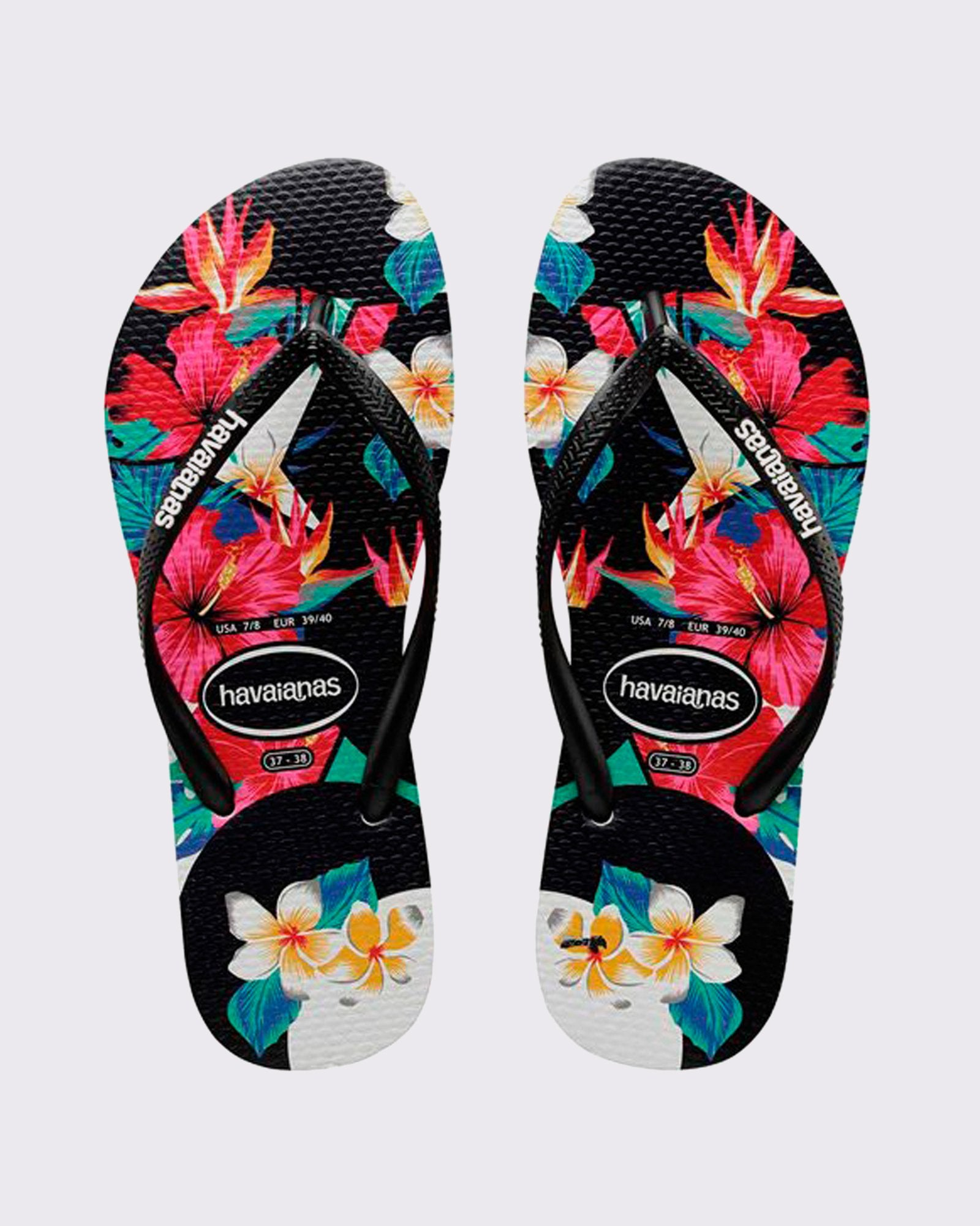 Havaianas Slim Floral Tropical Thong - Black