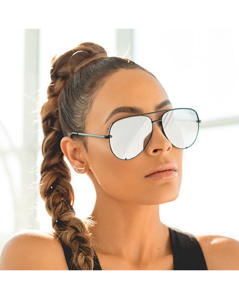QUAY HIGH KEY SUNNIES - BLACK/SILVER MIRROR