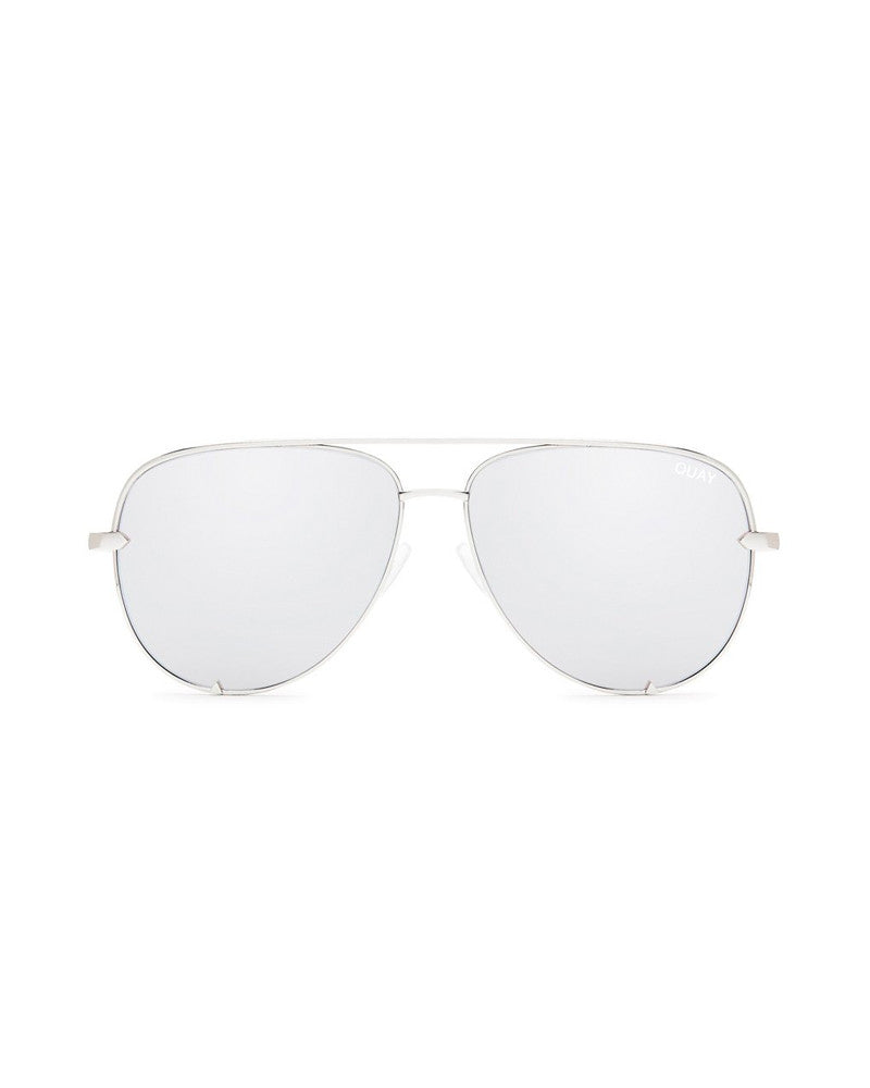 QUAY HIGH KEY SUNNIES - SILVER/SILVER MIRROR