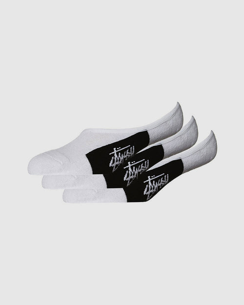 Stussy Stock No Show 3Pk Socks - White