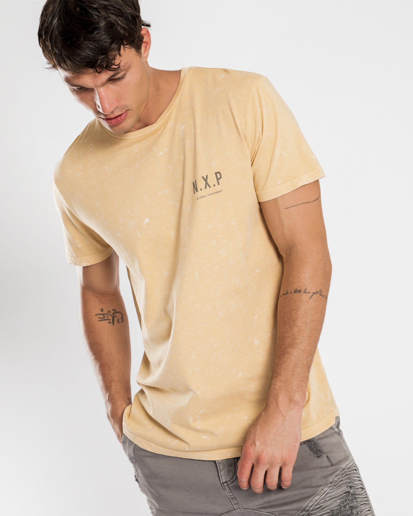 Nena & Pasadena Submerge Scoop Back Tee - Acid Tan