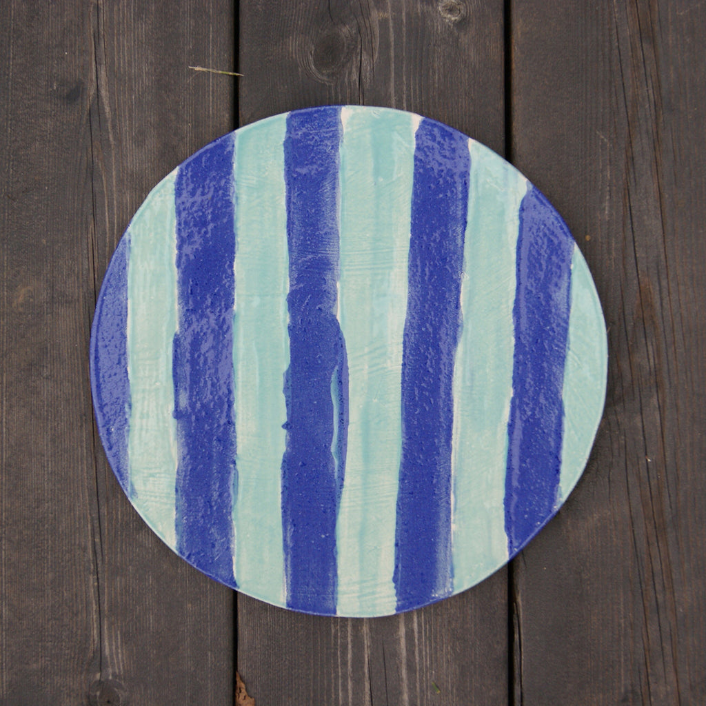 'Plapla' Ceramic Plate | Stripes of Blue