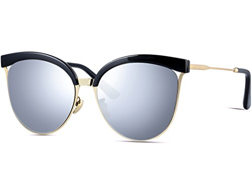 ff43d54518 ATTCL Women s Gold Metal Frame Round Trim Aviator Style Women s Cat Ey -  Discount Sporting Store