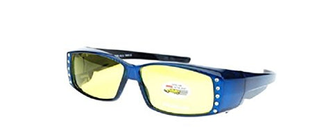 Polarized Rhinestone Fit Over Prescription Glasses Yellow Night Driving