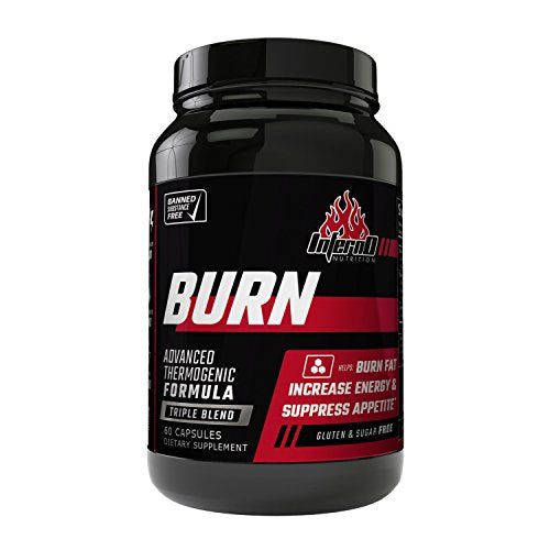 Inferno Nutrition Burn Triple Blend Fat Burner Appetite Suppressant Metabolism Support 60 Caps Weight Loss Pill For Men Women Increase Energy
