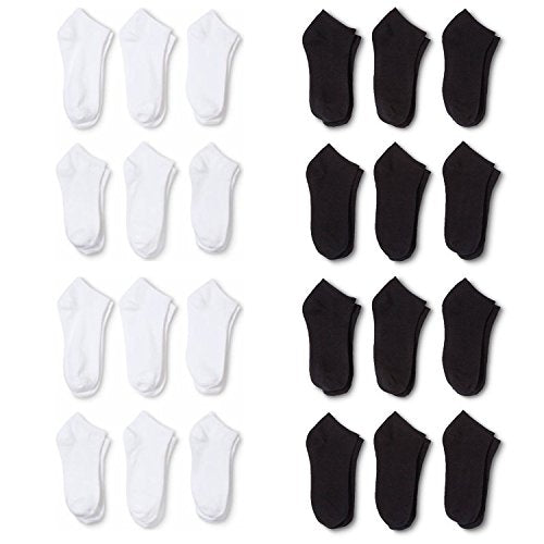 24 Pairs Men's Classic Low Cut Socks 9-11 6-8 Black White