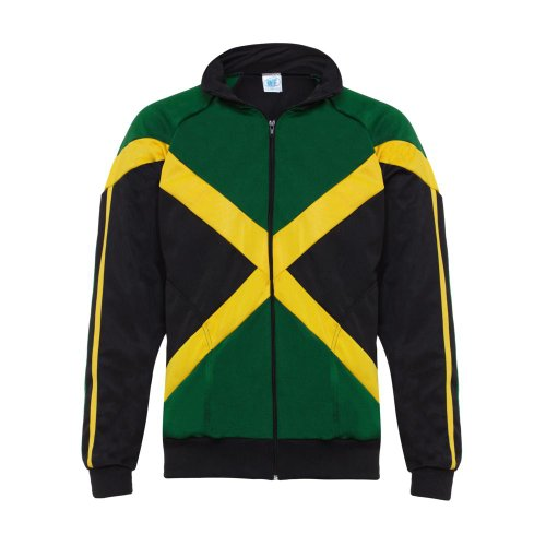 Authentic Jamaican Long Sleeved, Reggae Zip Up Jacket - Unisex (Black, Green and
