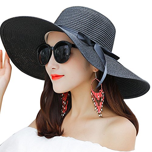 352e4bc95a9 Promini Women Floppy Hat Big Bowknot Straw Hat Wide Brim Beach Hat Fol -  Discount Sporting Store