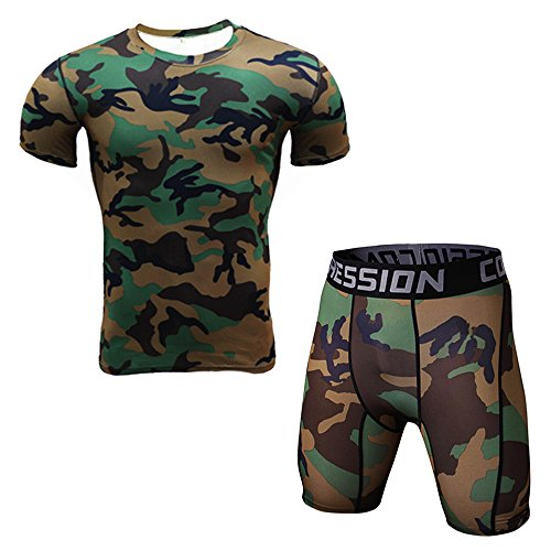 1Bests Men's Sports Fitness Camouflage Tight T-Shirt Set Short Sleeve T-Shirt +