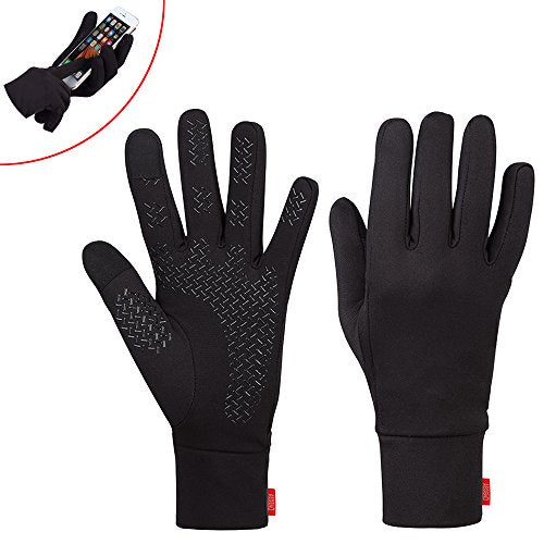 Aegend Lightweight Running Gloves Women Men Touch Screen Gloves Cycling Bike Sports Compression Liner Gloves Black For Winter Early Spring Or Fall,3