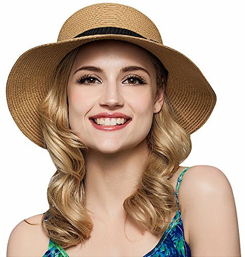 JOSENI Women Floppy Sun Beach Straw Hats Wide Brim Packable Summer -  Discount Sporting Store aed58e16dad