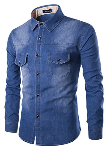 Sawadikaa Men's Casual Vintag Denim Work Shirt Button Down Long Sleeve Stretchy