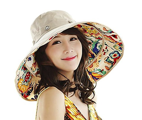 Women's Reversible Sun Hat with Chin Strap Floppy Wide Brim Packable Sun Protection Travel Beach Cap Visor