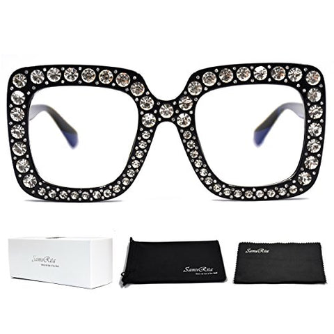 SamuRita Elton Square Diamond Rhinestone Sunglasses Novelty Oversized Celebrity