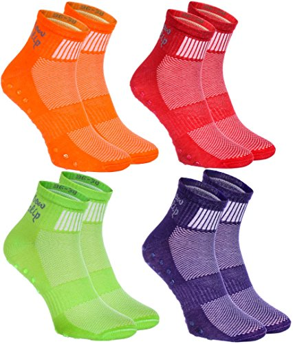 4 pairs of Colorful Non-slip Socks ABS SPORT Yoga Dance Gymnastics Trampolines