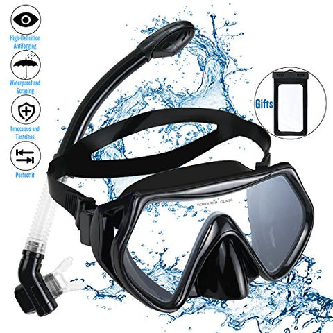 Snorkel Set Snorkeling Gear Package Adults Diving Snorkel Mask Scuba with Silicon MouthPiece Tempered Glass Silicone Diving Anti-Fog