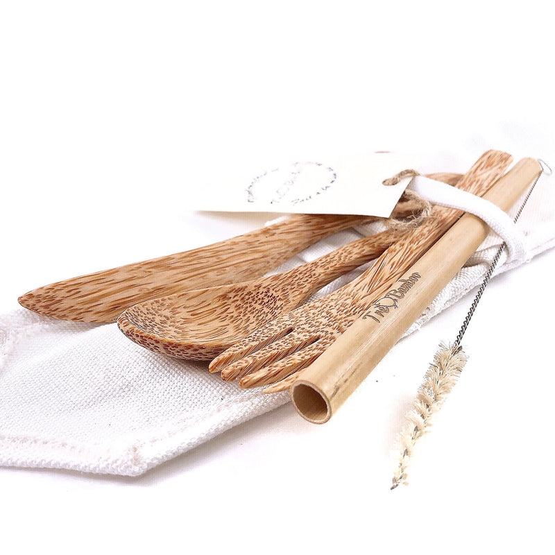 Wooden Coconut Cutlery - TreO Bamboo - Eco-friendly, Natural and Handcrafted Product