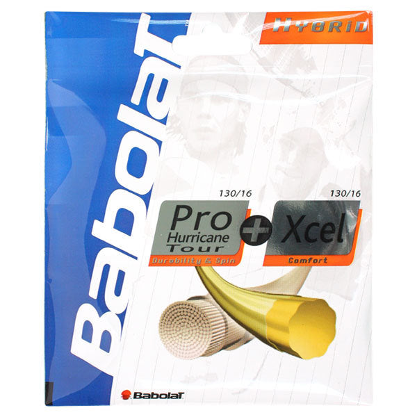 Babolat Pro Hurricane Tour 16 and Xcel 16g Strings