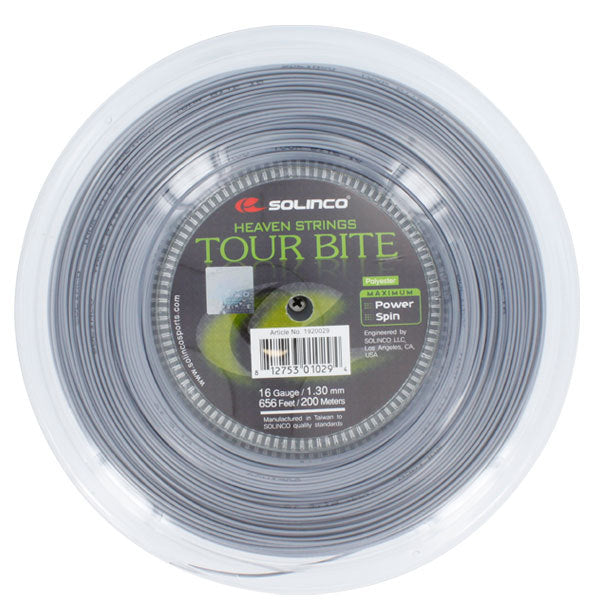 Solinco Tour Bite 16G 1.30MM Reel Tennis String Silver