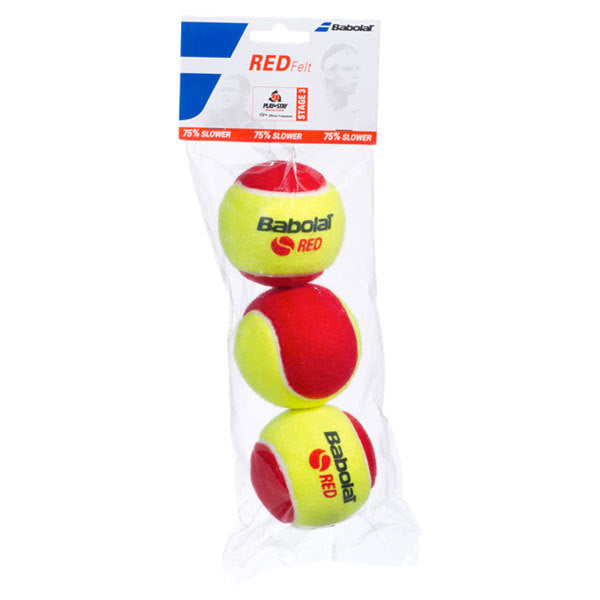 Babolat Play And Stay Red Felt 3 Pack Tennis Balls