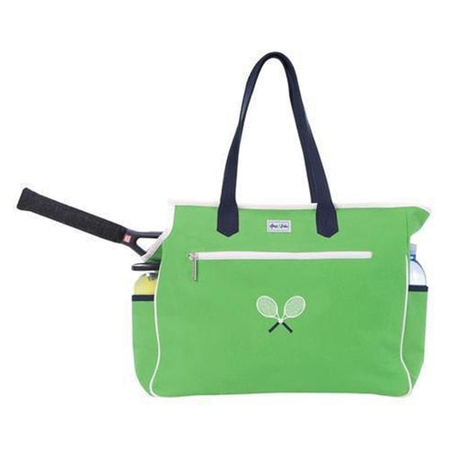 Ame & Lulu Kensington Crossed Racquet Court Bag Green/Navy