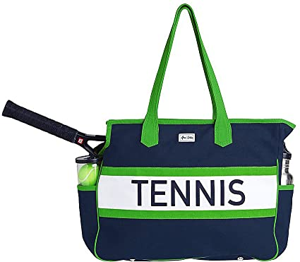 Ame & Lulu Navy/Green Tennis Varsity Court Bag
