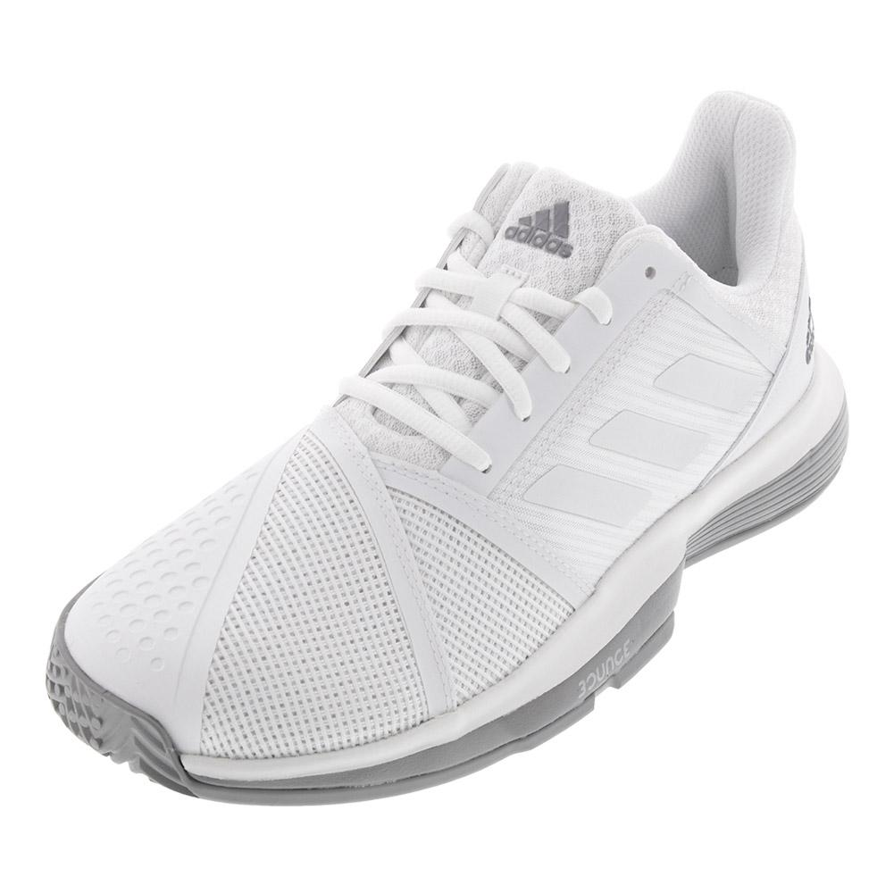 Adidas Women's CourtJam Bounce Tennis Shoes White and Light Granite