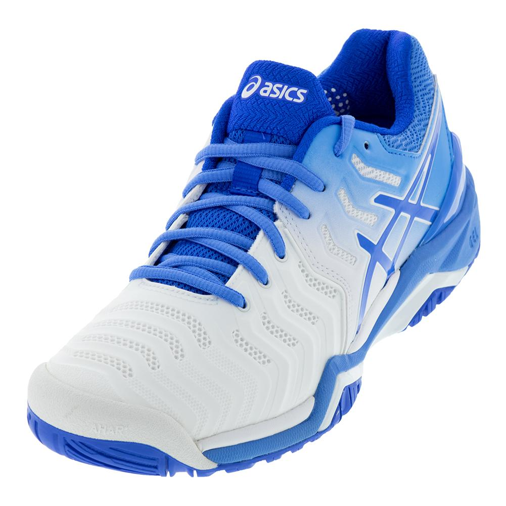 Asics Women's Gel-Resolution 7 Tennis Shoes White and Blue Coast