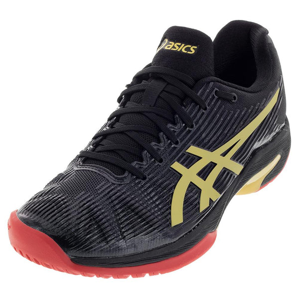 Asics Men's Solution Speed FF LE Tennis Shoes Black and Rich Gold