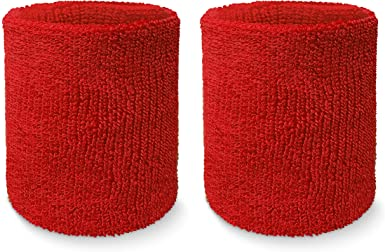 Nu Red Long Wristbands, 4inches, 2pk