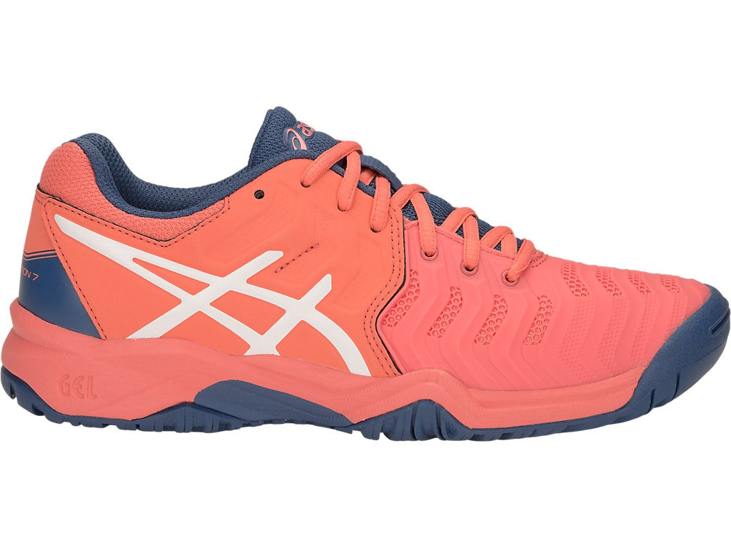 Asics Gel-Resolution 7 Kids Shoes, Papaya/White