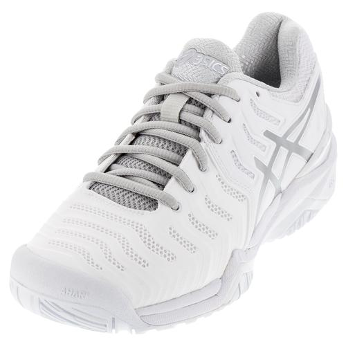 Asics Women's Gel-Resolution 7 Tennis Shoes White and Silver
