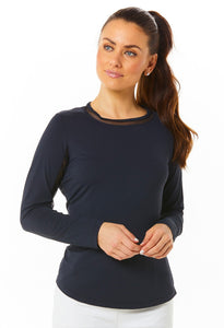 Long Sleeve Crew Neck with Mesh 83000 Black