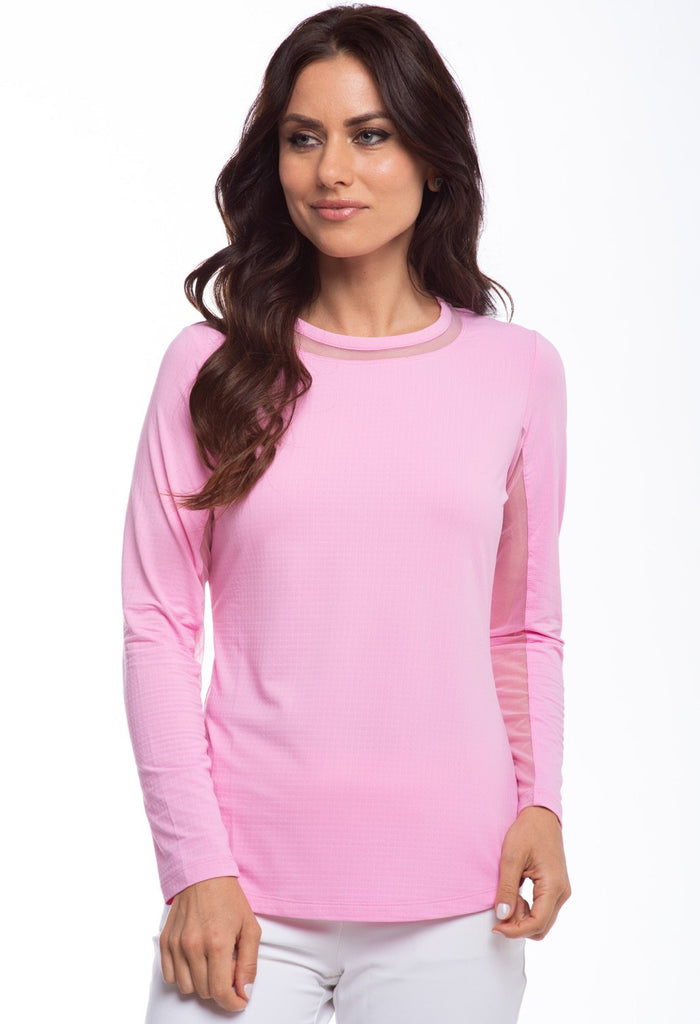 Ibkul Long Sleeve Crew Neck with Mesh 83000 Candy Pink