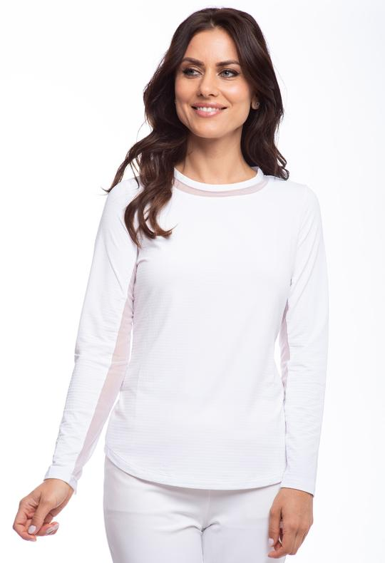 Long Sleeve Crew Neck with Mesh 83000 White